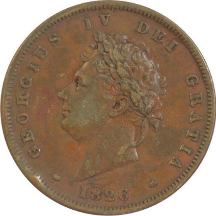 George IV 1826 2nd Issue Penny in very fine condition
